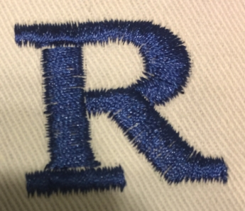 Letter R showing sections