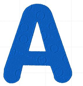 Letter A with small embossed circles