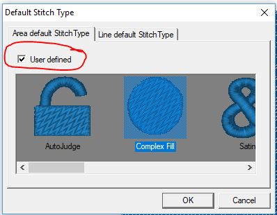 Default Stitch Type Dialog