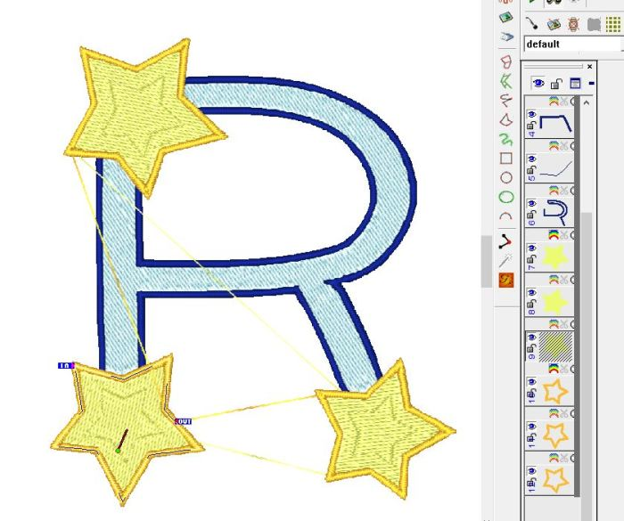 Letter R with object selected