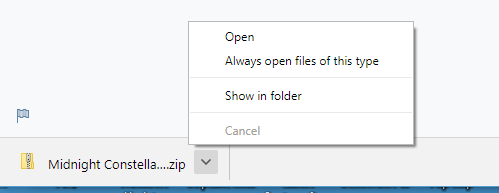 Chrome showing downloads and dialog