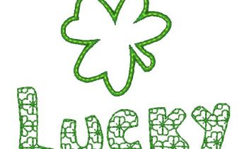 "Applique Shamrock and the word ""Lucky"" in motif fill."